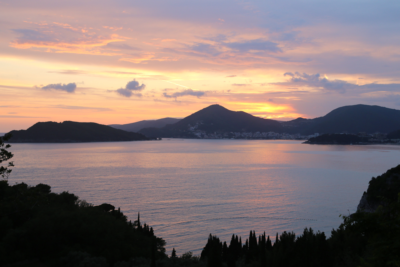 Sunset over Budva bay