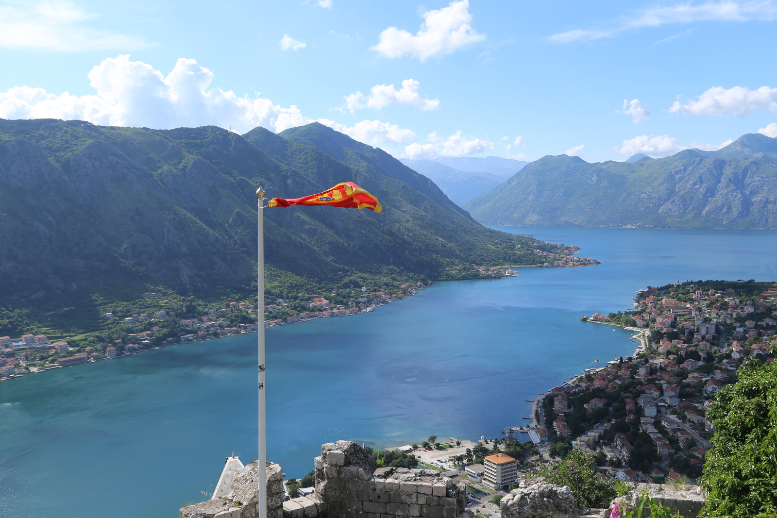 Kotor bay view from theSan Giovanni castle high on the hill above the town