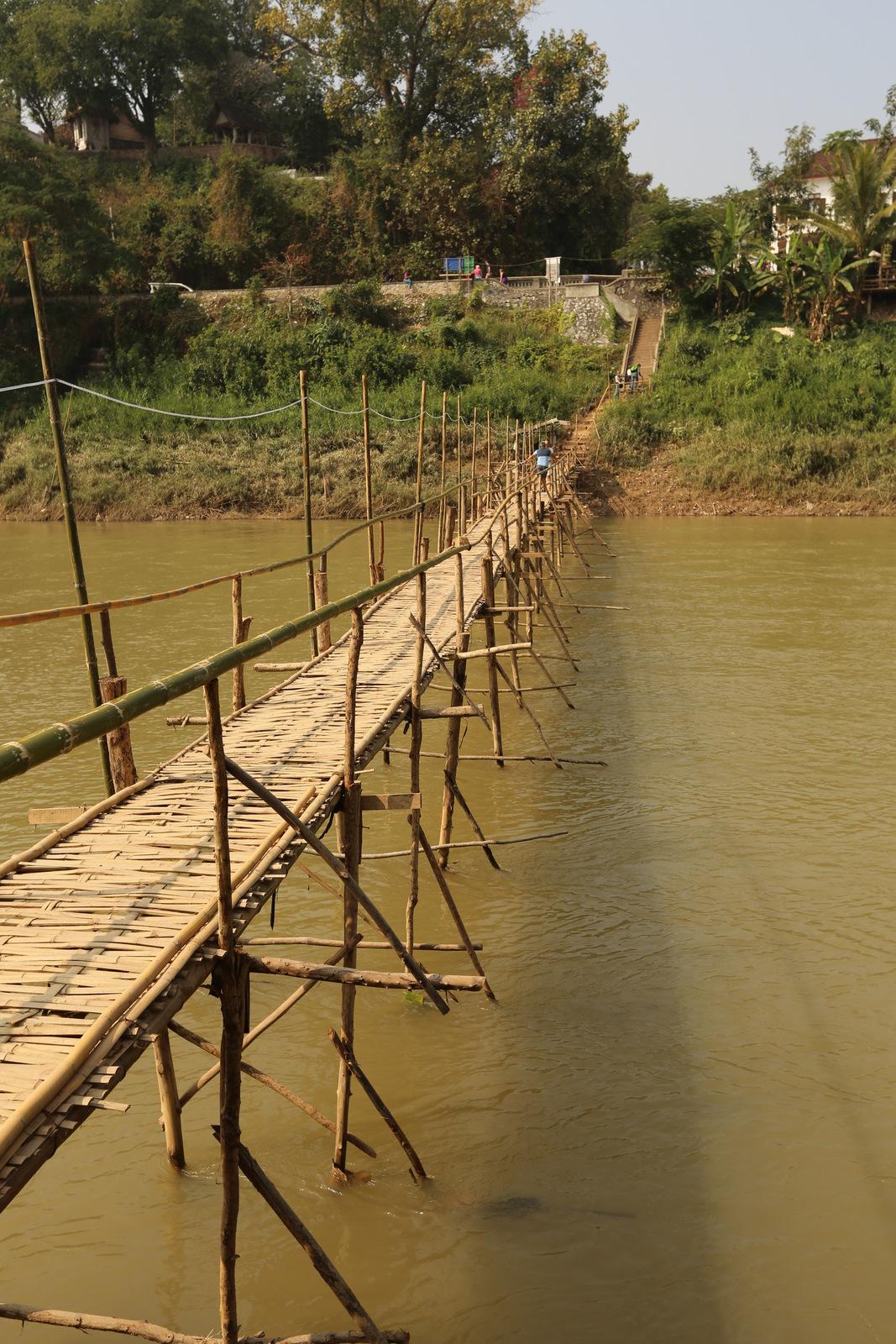 Luang Prabang - Temporary bamboo bridge across Nam Khan river